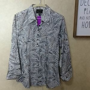NWT Foxcroft feathers long sleeve blouse 10